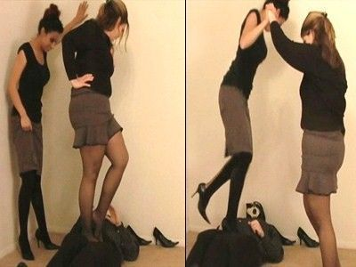 Nuts stomped under high heels and stockings